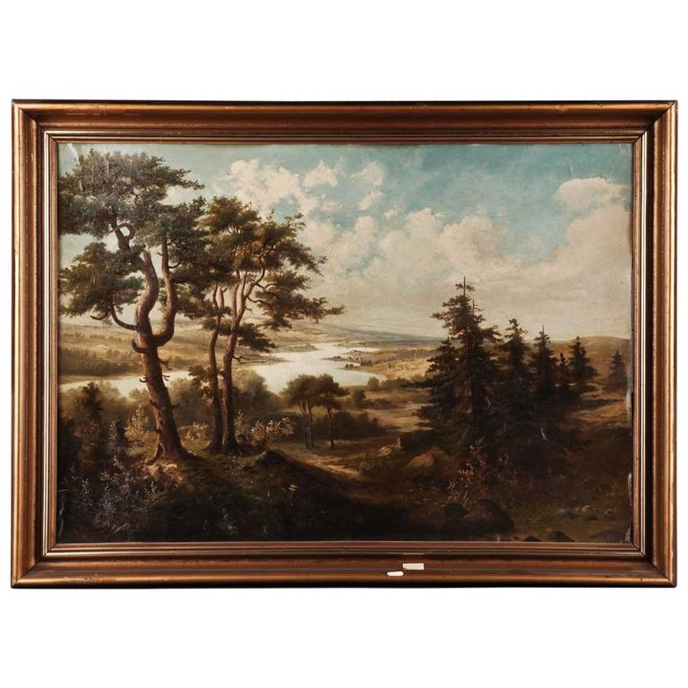 19th Century Landscape Oil Painting For Sale