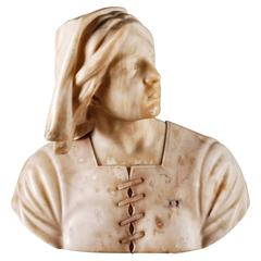Early 20th Century Alabaster Bust Jeanne D´Arc Signed A. Pascal 1923