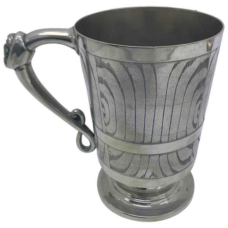 Victorian Silver Plated English Mug, circa 1870 For Sale