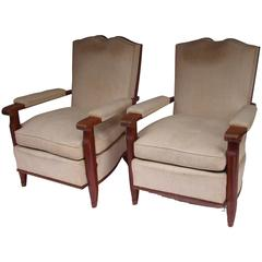 1940s French Padded Mahogany and Fabric Pair of Armchairs