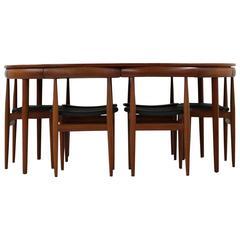 Rare 1960s Teak and Leather Dining Set, Hans Olsen for Frem Rojle
