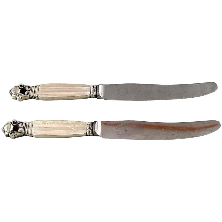 """Acorn"" Silver Cutlery Georg Jensen Two Fruit Knives For Sale"