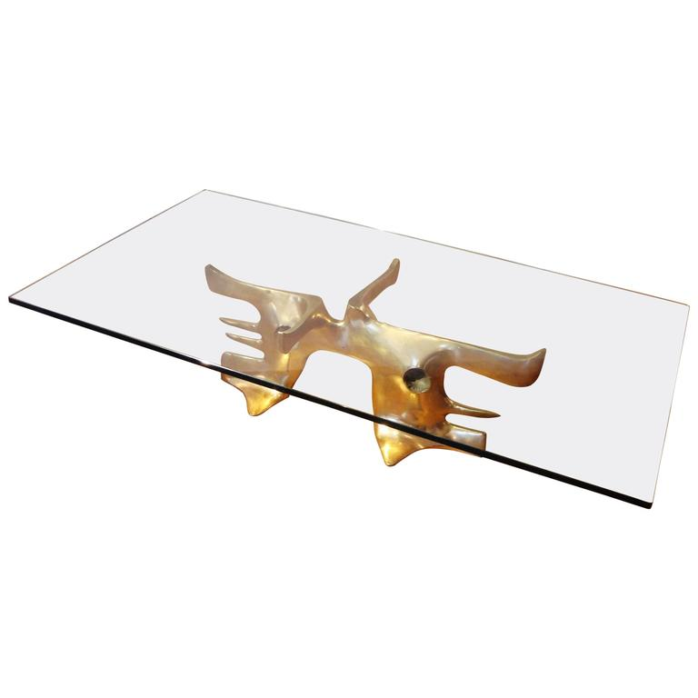 Gilt Bronze Coffee Table, 1973 by Victor Roman 1