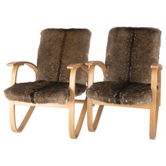 Jindrich Halabala Armchairs with Deer Fur