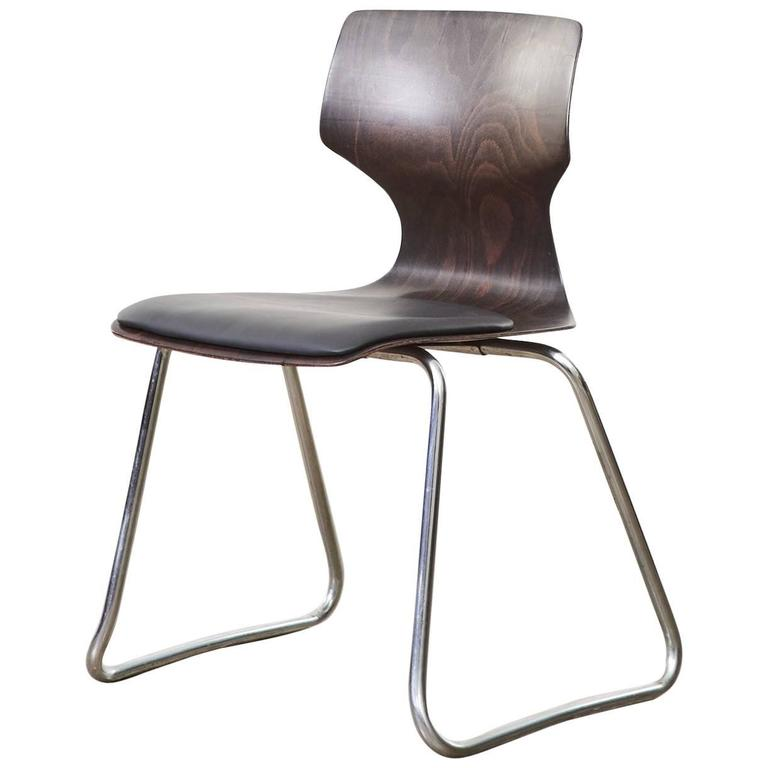 1960s Flötotto Pagwood and Leather Dining Chair For Sale
