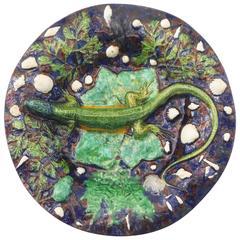 Majolica Palissy Lizard Footed Platter Pull, circa 1870
