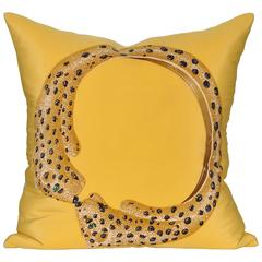 Vintage Cartier Gold Panther Silk Scarf with Irish Linen Cushion Pillow