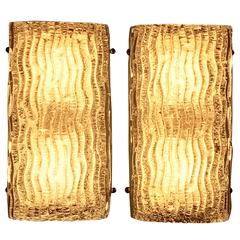 Pair of Kalmar Texured Glass Sconces or Wall Lights, 1950s