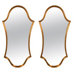 Pair Hollywood Regency Faux Gilt Mirrors After Lebarge