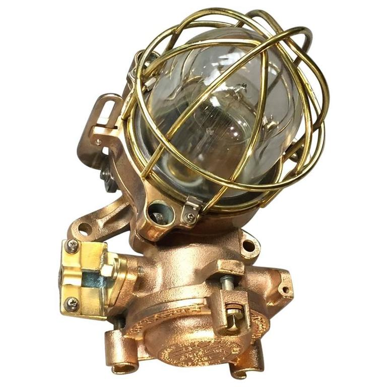 Brass Copper Wall Lights : Late Century Flameproof Copper Ceiling or Wall Light, Glass Dome Brass Cage E27 For Sale at 1stdibs