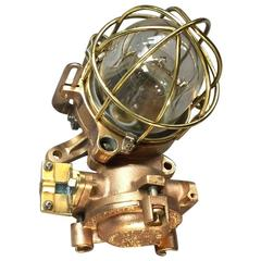 Late Century Flameproof Copper Ceiling or Wall Light, Glass Dome Brass Cage E27