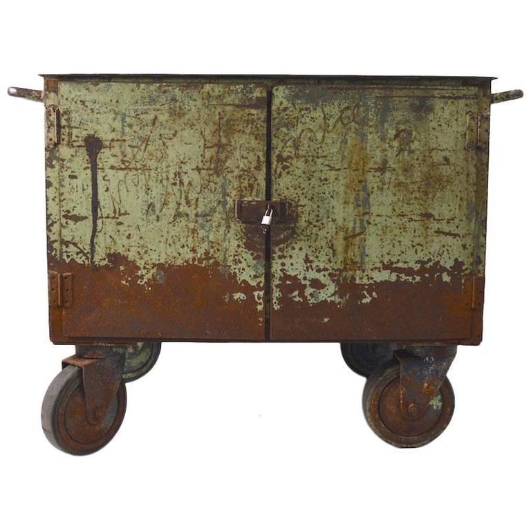 Two Door Industrial Cart On Wheels At 1stdibs