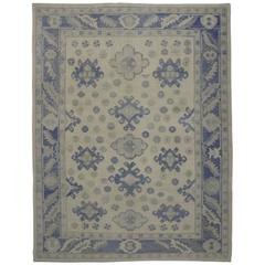 Modern Turkish Oushak Rug with Transitional Style in Majorelle Blue