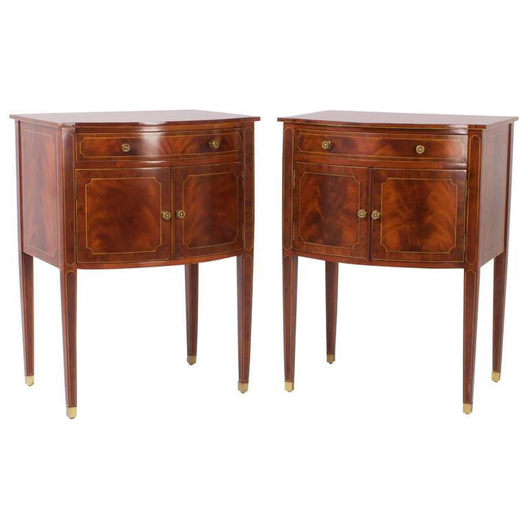 Elegant pair of maitland smith bow front mahogany nightstands at 1stdibs - Elegant types of nightstands ...