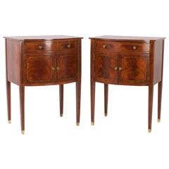 Elegant Pair of Maitland-Smith Bow Front Mahogany Nightstands