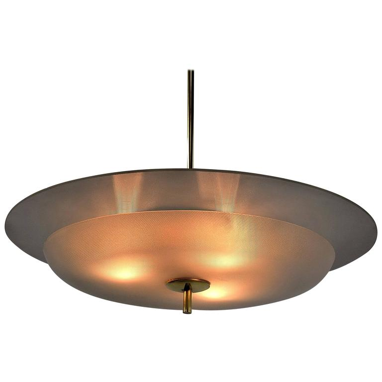 Fontana Arte Attributed Mid Century Modern Chandelier For Sale