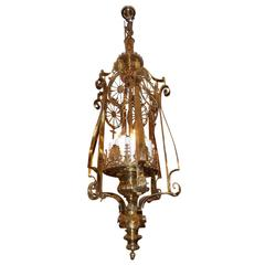 American Monumental Brass Medallion Hanging Lantern, New York, Circa 1870