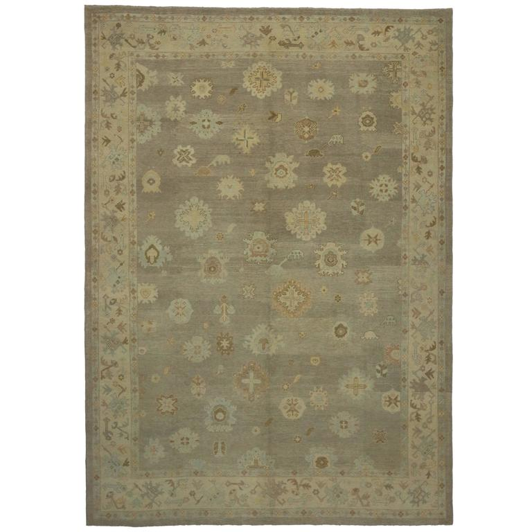 Modern Turkish Oushak Rug With Transitional Style In