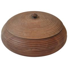 Early 20th Century French Wooden Bowl with Lid