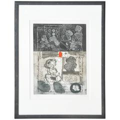Mid-Century French Etching Untitled, Numbered and Signed