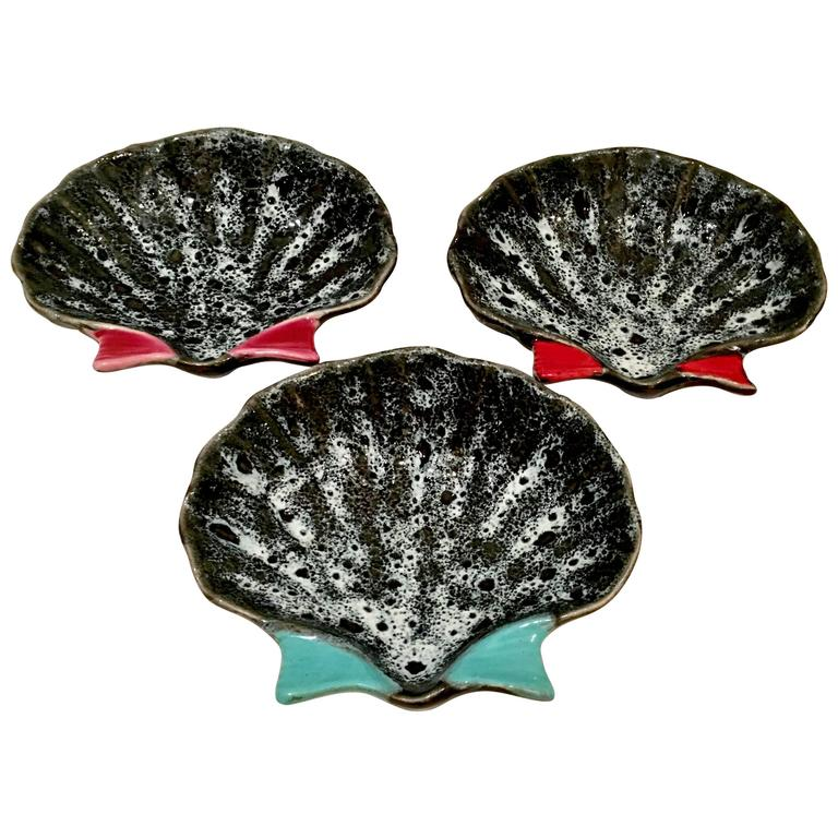 1950'S French Pottery Oyster Dish Set Of 3 By, Luc Vallauris