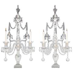 Superb Pair of George III Period Cut-Glass Candelabra by William Parker