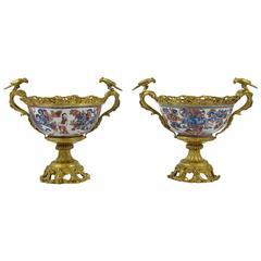 Two Bronze-Mounted Japanese Porcelain Imari Bowls with Bronze Birds