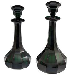 Fine Pair of Slice Cut Emerald Green Victorian Decanters