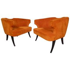 Rare Mid-Century Barrel Back Armchairs