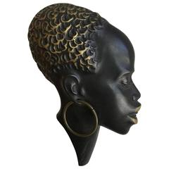 Hagenauer Style Bronze African Female Head Wall Decoration