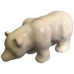 Scarce Early Contemporary Handmade Hand Glazed Majolica Polar Bear, 1950