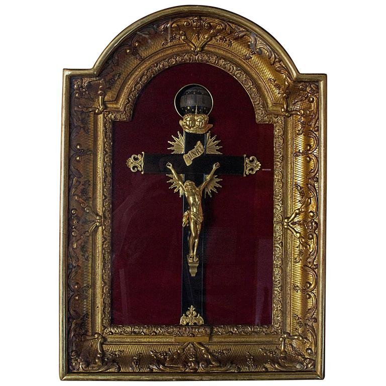 Extremely Rare French Crucifix Wall Rotary Clock For Sale