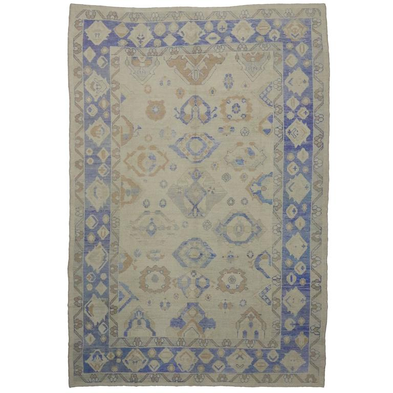 Modern Turkish Oushak Area Rug with Transitional Style For Sale