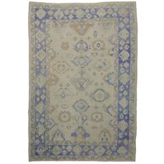 Modern Turkish Oushak Area Rug with Transitional Style