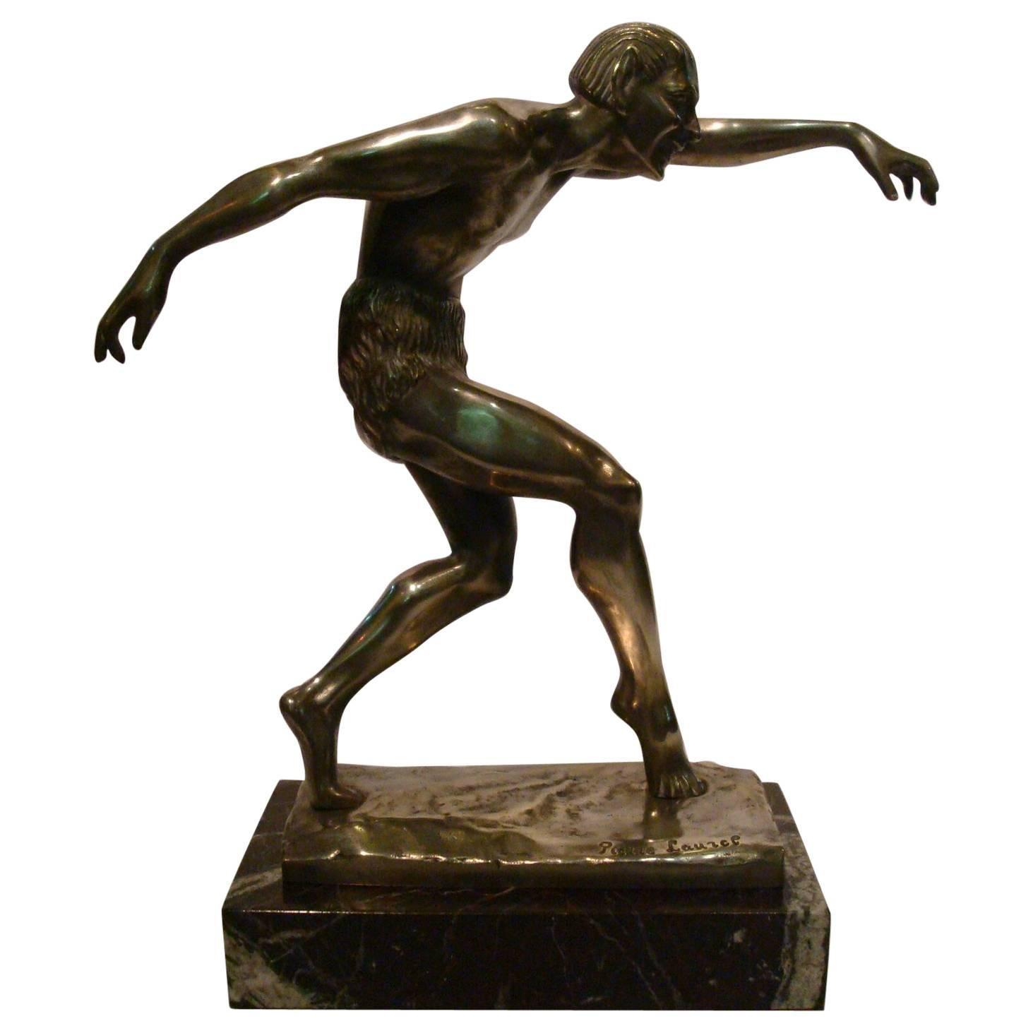Art Deco Devil - Faun - Satyr Silvered Bronze Sculpture, 1920s
