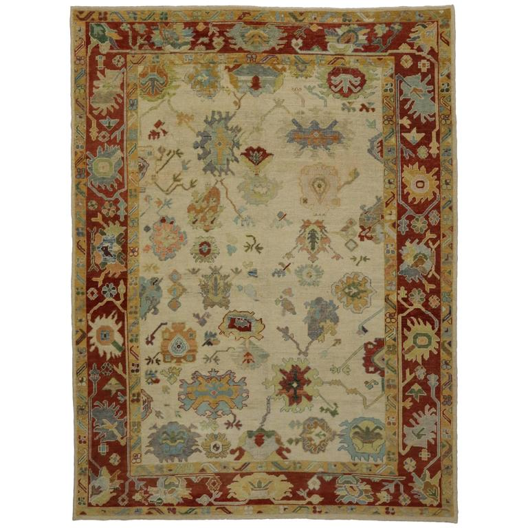 Modern Turkish Oushak Rug with Transitional Style in Traditional Colors