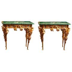 Pair of Rare European Empire Style Malachite and Gold Doré Bronze Agate Tables