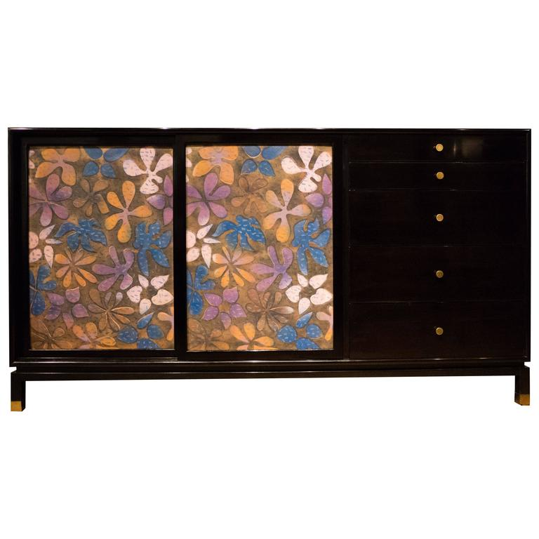 Harvey Probber Cabinet with Jewelry Enamel Doors For Sale