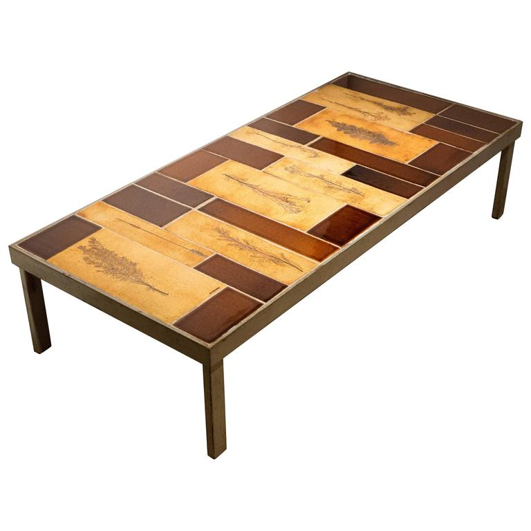Roger Capron Cocktail Table in Steel Frame with Garrigue Tiles