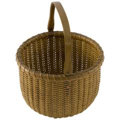 Open Round Nantucket Lightship Basket with Label by Ferdinand Sylvaro