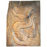 """""""Falling Satyr,"""" Superb Art Deco Panel with Male Nude by WPA Sculptor"""