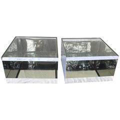 Pair of Polished Steel Joe D'urso Tables