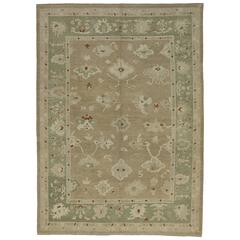 Modern Turkish Oushak Rug with Transitional Style and Warm Neutral Colors