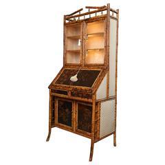 Superb 19th Century English Bamboo Secretary Bookcase