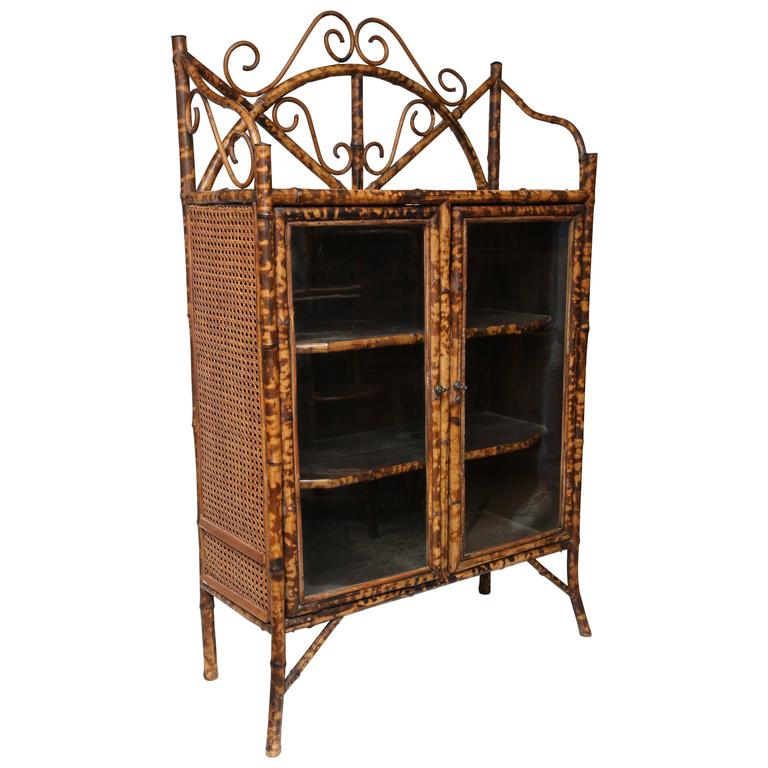 19th Century English Bamboo Cabinet or Bookcase For Sale