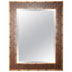 Large Faux Bamboo Bevel Mirror