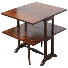 19th Century Drop-Leaf Table with Dutch Marketry Inlay