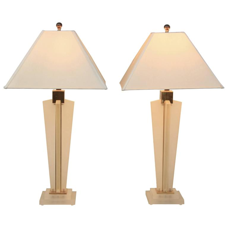 Pair of Frederick Cooper Frosted Lucite and Brass Lamps with Shades
