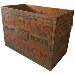 Large Vintage Antique Colmans Starch Retail Wooden Box Trunk Chest Shop Display