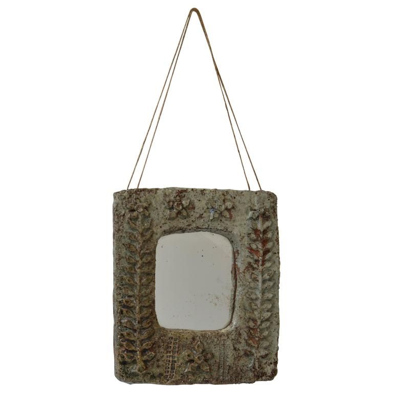 Vintage Ceramic Wall Mirror with Relief Botanical Motif